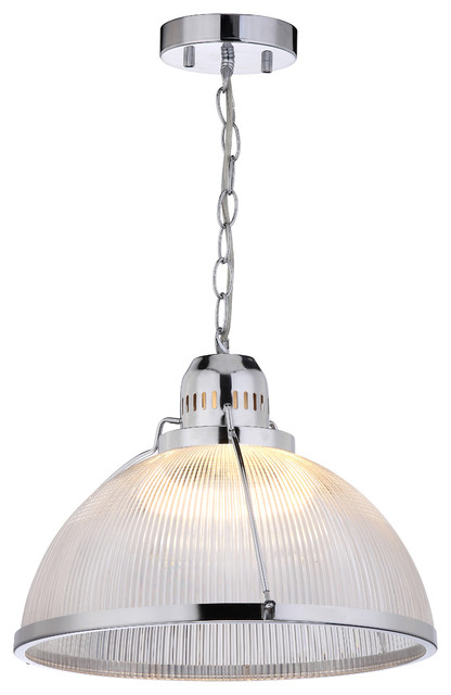 Factory Industrial Chrome Pendant Light.