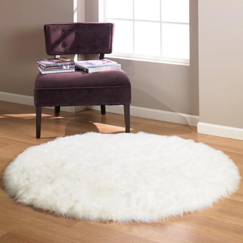 Snowy White Polar Bear Faux Fur Round Rug, Sheepskin Round