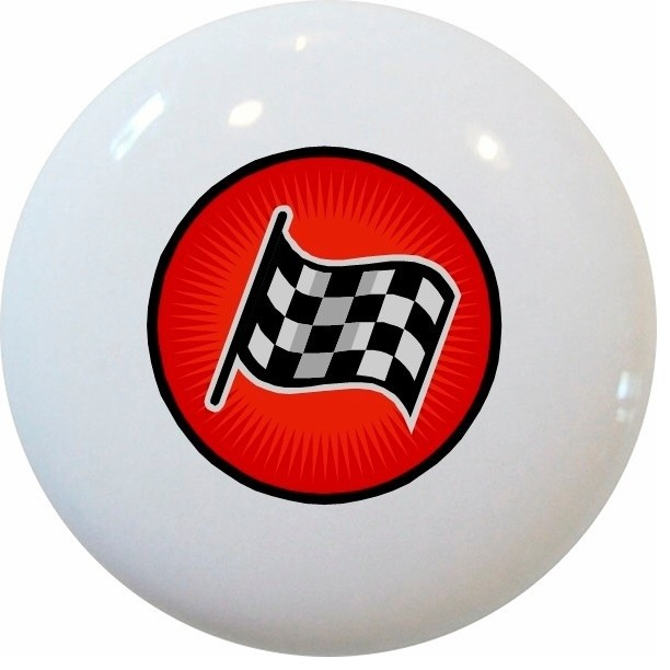 Red Racing Checkered Flag Ceramic Knob - Contemporary - Cabinet And Drawer Knobs - by Carolina ...