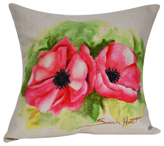 Poppy Throw Pillow Cover Traditional Decorative Pillows By Beauteous Poppy Decorative Pillows