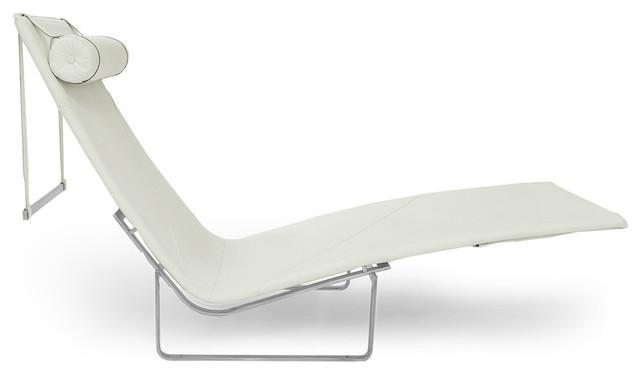 pk24 modern chaise lounge chair premium aniline leather arctic white