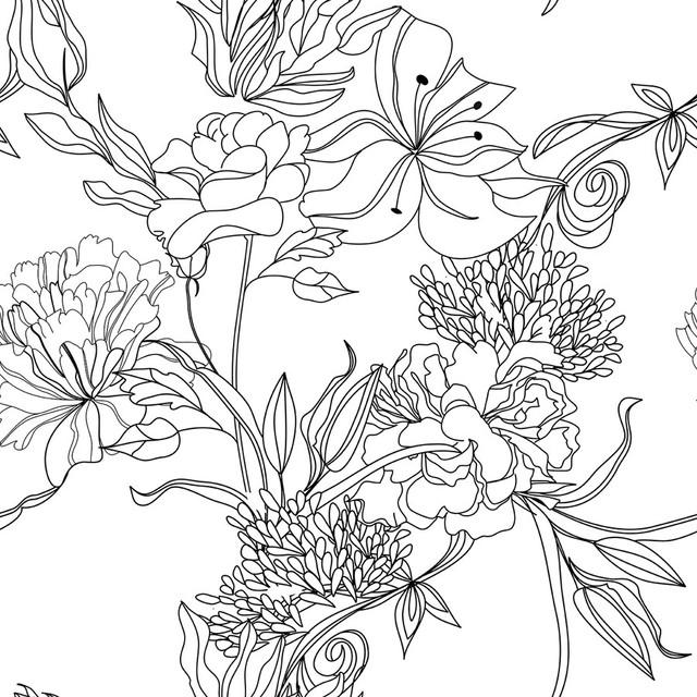 sketch floral removable wallpaper 20 x5 39 panel