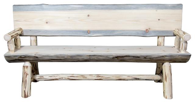 Montana Half Log Bench With Back U0026 Arms, Ready To Finish, ...