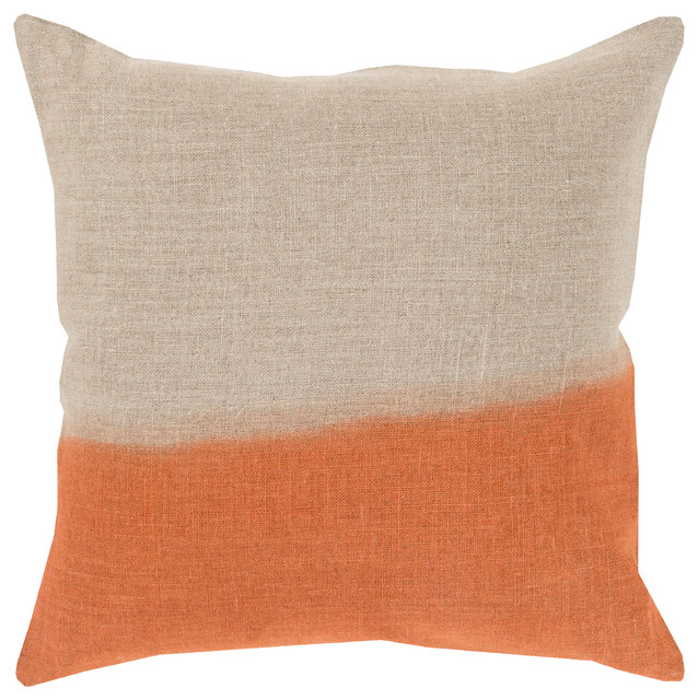 "Dip Dyed By Surya Down Fill Pillow, Khaki/burnt Orange, 20""x20"", Dd012-2020d."