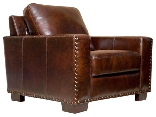 Abbyson Living Monaco Leather Armchair, Brown