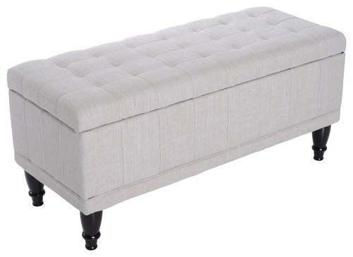 42 Fabric Tufted Storage Ottoman Bench, Cream
