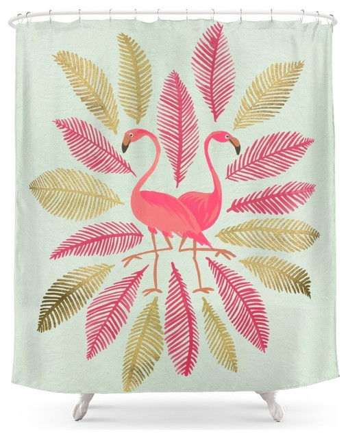 Society6 Flamingos Pink And Gold Shower Curtain Tropical Shower Curtain