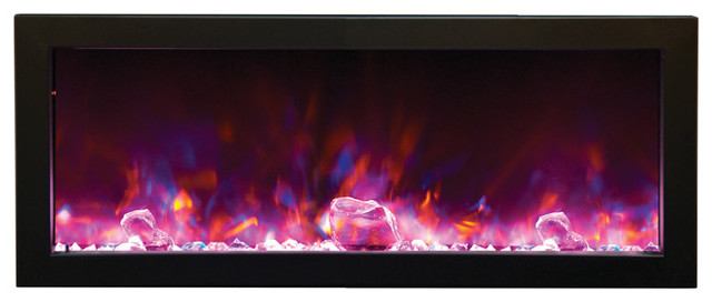 Steel Built-In Electric Fireplace, Black.