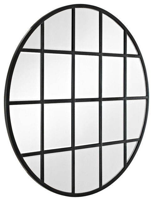 "40"" Round Beveled Window Mirror."