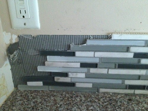Big dilemma need help removing mosaic backsplash in for Removing backsplash tile from sheetrock