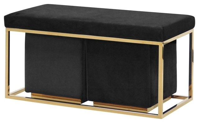Sagebrook Home Black/gold Velveteen Bench/stools, Set Of 3.