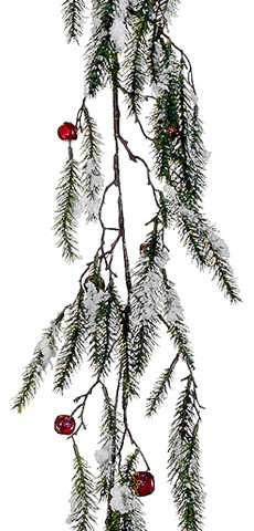 "Snowy Pine With Red Jingle Bells Artificial Christmas Garland, Unlit, 5&x27;x15""."