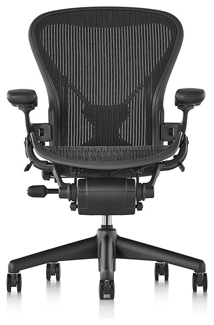 Herman Miller Aeron Chair Size B Fully Loaded With Posturefit Black Mesh.