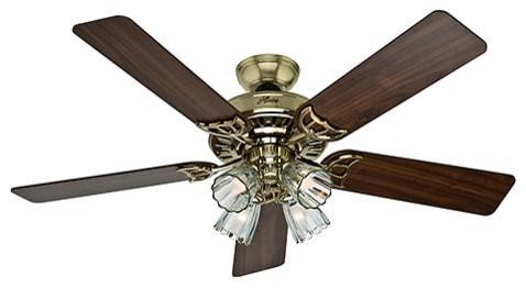 "Hunter 52"" Studio Series Bright Brass Ceiling Fan With Light."