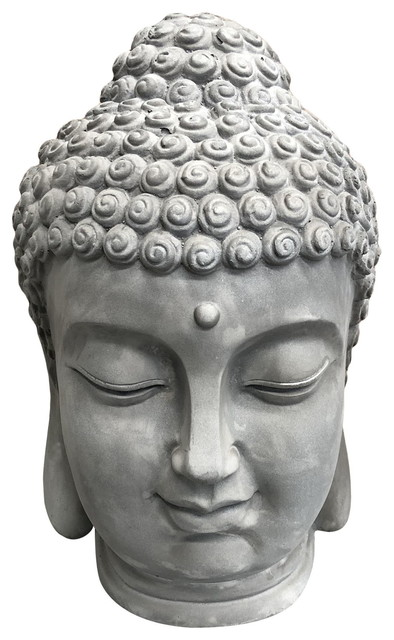 Concrete Buddha Head, Light Gray