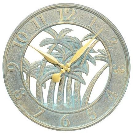 Decorative Clock Palm Tree Tropical Outdoor Clocks