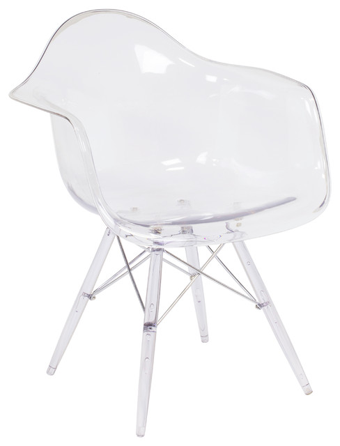 midcentury modern daw style arm chair  clear acrylic - midcentury - dining chairs