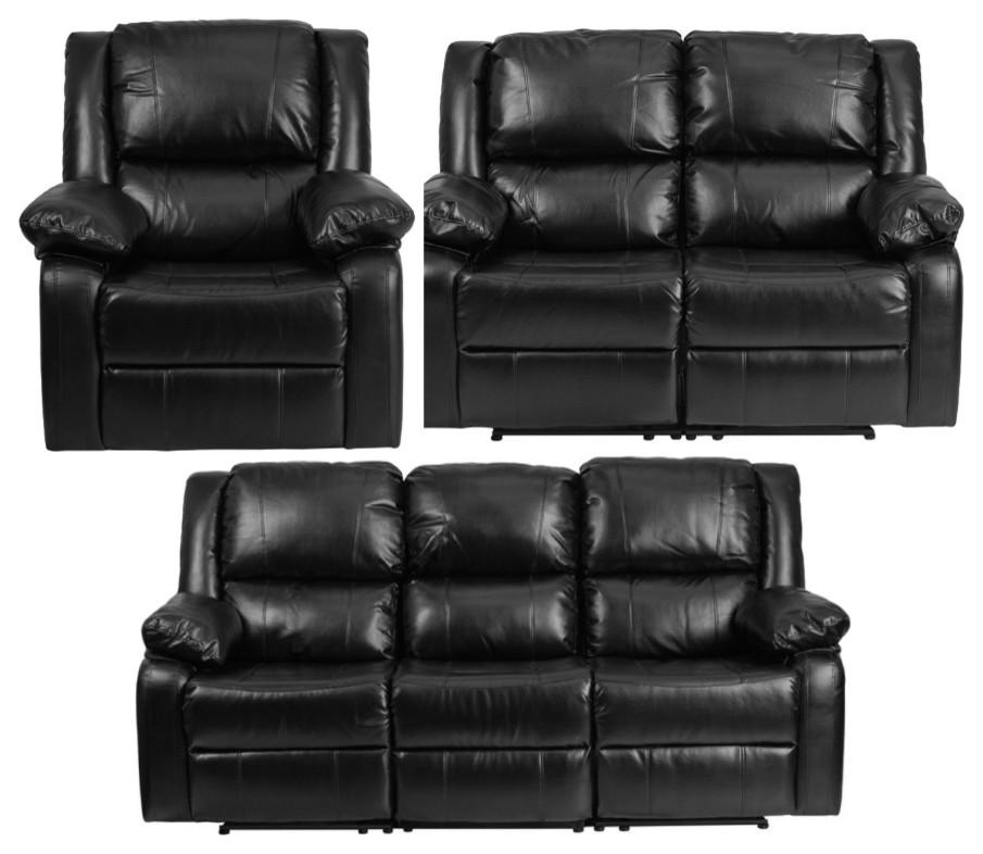 3-Piece Leather Recliner Set, Black