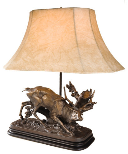 Rubbing stag lamp rustic table lamps