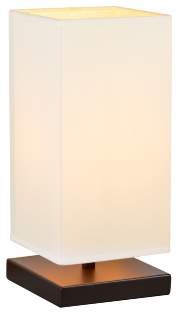 Lucerna Touch Bedside Table Lamp, Oil Rubbed Bronze/white Shade, Square, Single.