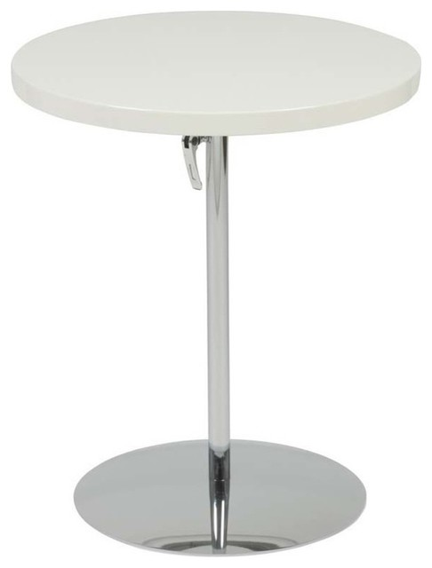 Eurostyle Raymond Round Pedestal Side Table In White Lacquer Side Tables  And End