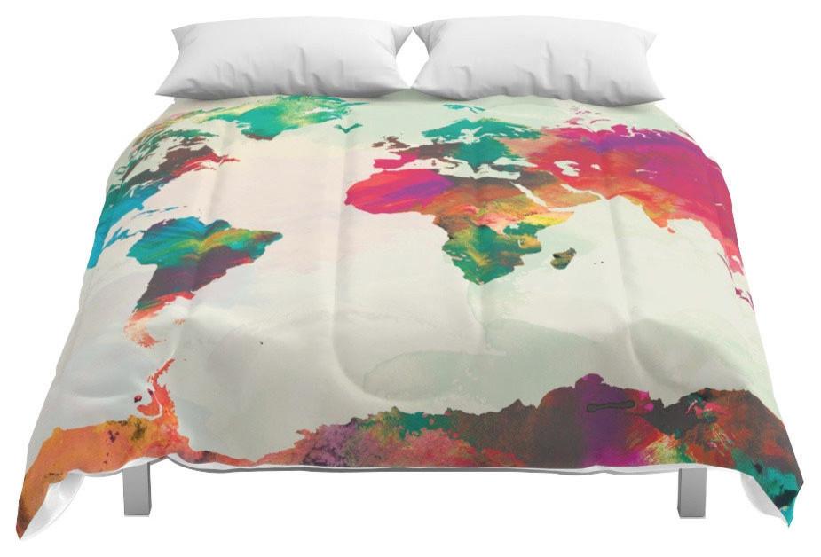 Society6 Watercolor World Map Comforter, King, 104x88