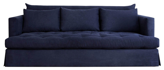 Adella Traditional Navy Blue Tufted Sofa