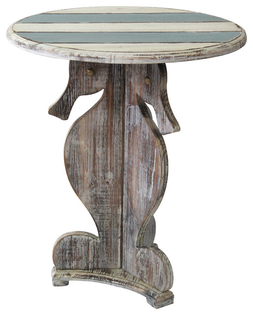 Nantucket Seahorse Accent Table Traditional Side Tables And End Tables