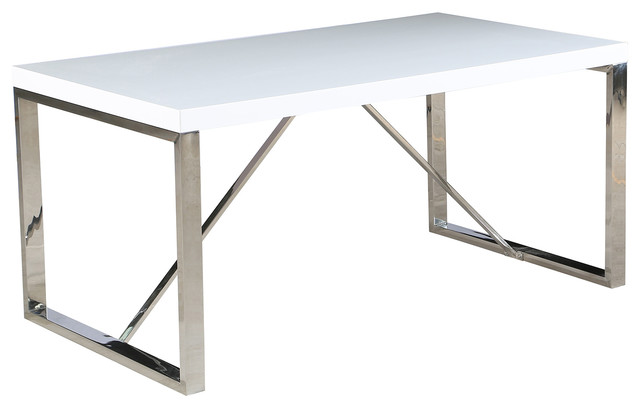 2xhome 63 Modern Dining Table Chrome Metal Legs Glossy Top Reviews Houzz