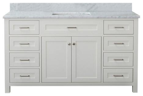 Norwalk 60 Single Bathroom Vanity With Marble Top Linen White