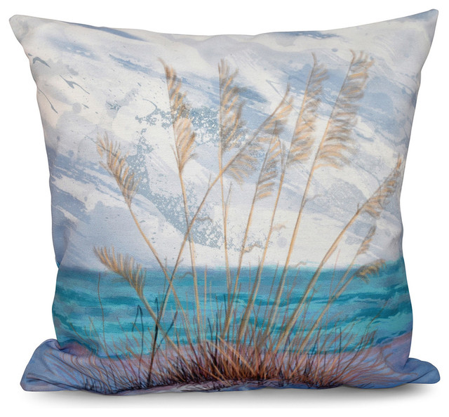 Beach Style Pillows : Happy Place, Floral Print Pillow - Beach Style - Decorative Pillows - by E by Design