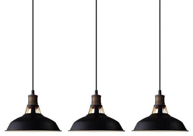 Black Barn Pendant Lighting Loft Light Fixture Set Of 3