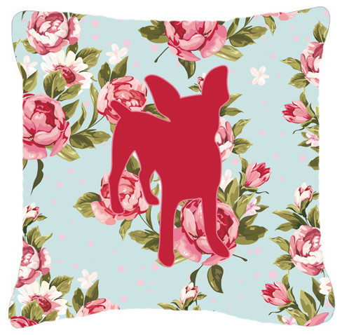 Chihuahua Shabby Chic Blue Roses Fabric Decorative Pillow Bb1108