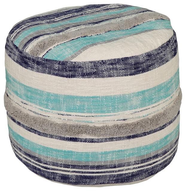 Fabulous Ocean Blue Pouf Ottoman Machost Co Dining Chair Design Ideas Machostcouk
