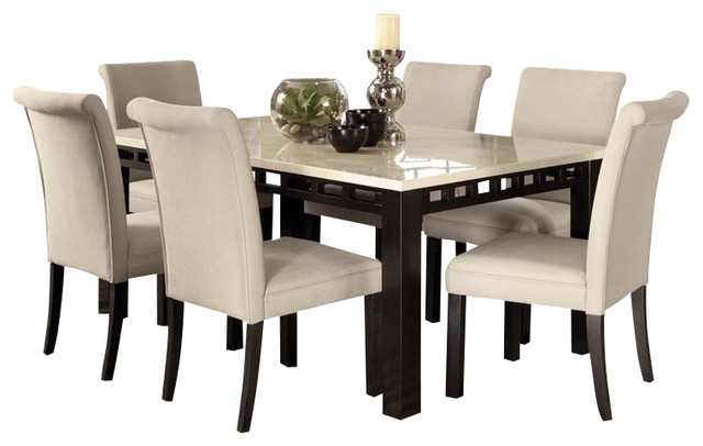 Gateway 7 Piece Dining Room Set With Parsons Chairs White