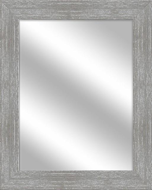 Framed Bathroom Wall Mirror, Gray Wash.