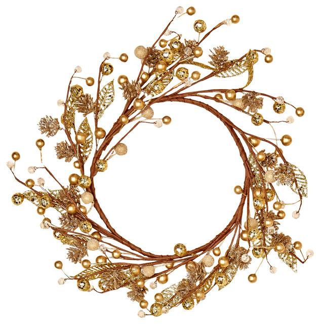"14"" Beaded Glitter Gold Berry Wreath."