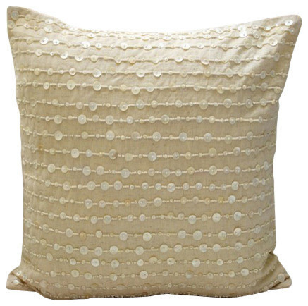 Beige Mother Of Pearls 30x30 Cotton Linen Cushions Covers for Couch, Adornment