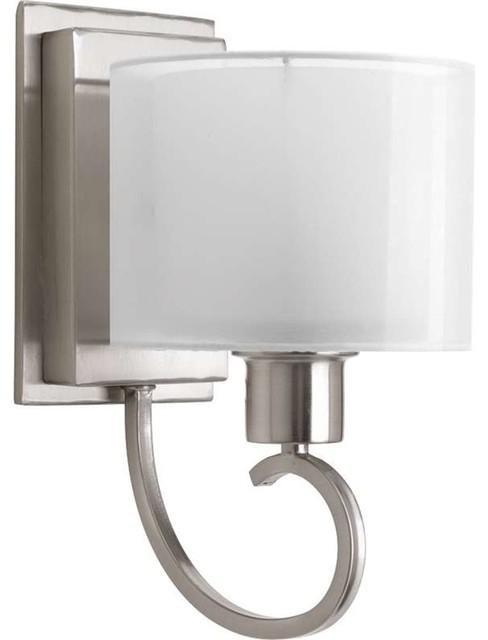 Progress Lighting P2041 09 Invite 1 Light Bathroom Light In Brushed Nickel traditional bathroom. Progress Lighting Progress Lighting P2041 09 Invite 1 Light