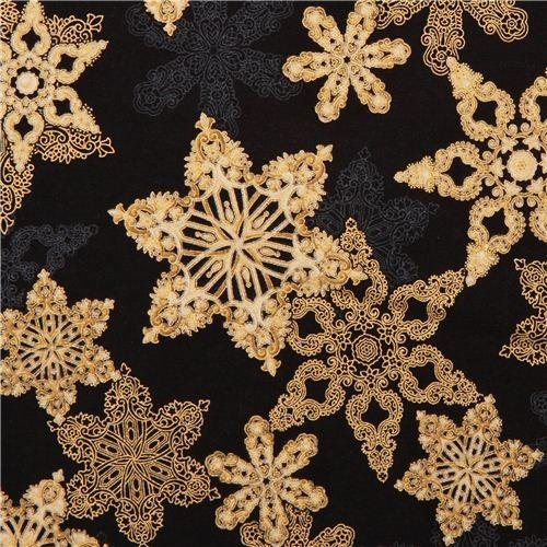 black Christmas star fabric Robert Kaufman Holiday Flourish