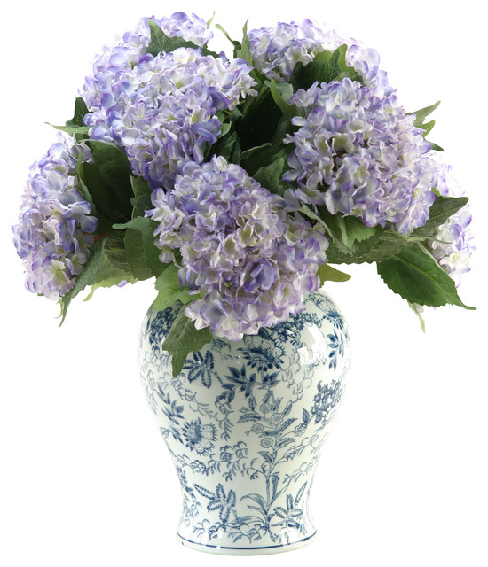 D W Silks Hydrangeas In Large Blue White Chinese Porcelain