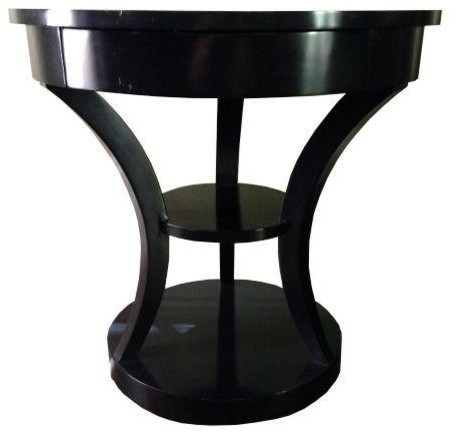 Round Black Lacquered Side Table Contemporary Side Tables And End Tables