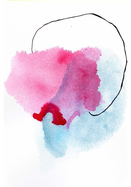 """Abstract Print, Pink and Blue, 11""""x14"""""""
