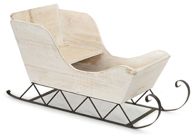 "Wood And Iron Sleigh, White, 24""x12.5""."