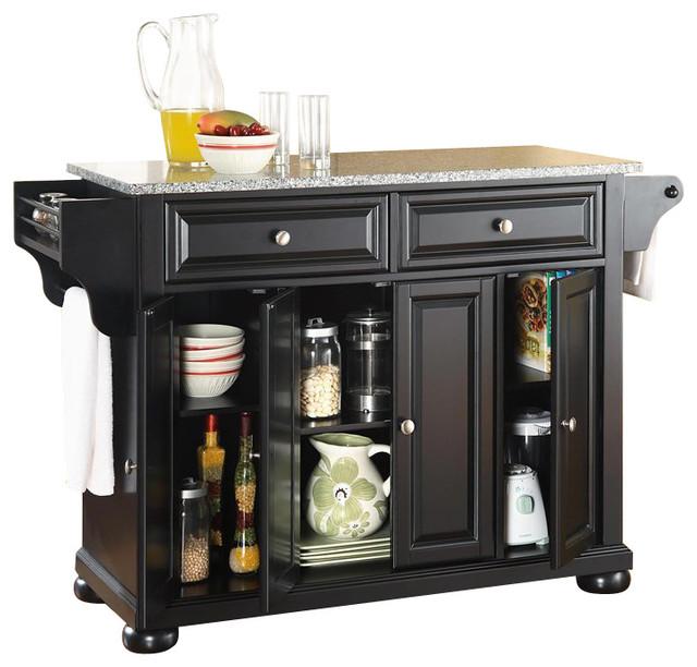 Crosley Furniture Alexandria Solid Granite Top Kitchen Island in Black
