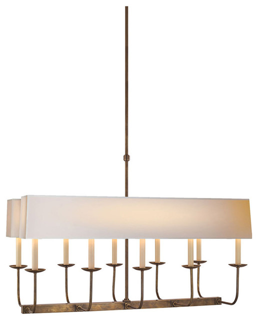 E.f. Chapman Branched 10-Light Linear Pendant, Hand-Rubbed Antique Brass.