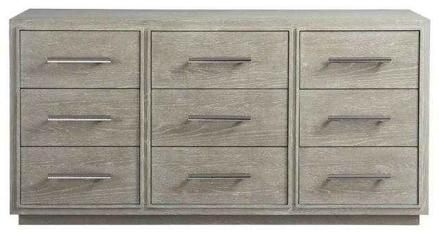 "Coastal Zephyr Gray 9-Drawer Dresser 72""."