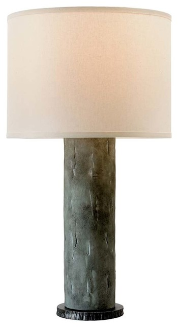 La Brea 33 Cylindrical Table Lamp Slate Finish Off White Linen Shade Industrial Table Lamps By The Lighthouse