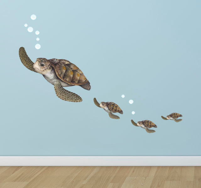 Sea Turtle Family Wall Decal Beach Style Wall Decals