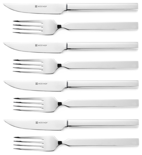 wusthof stainless steel 8piece steak knife and fork set stainless